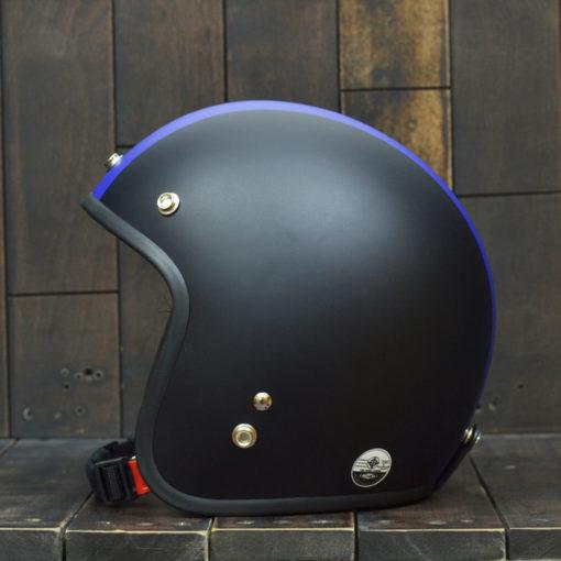 Mũ bảo hiểm 3/4 dammtrax đen sọc xanh biển