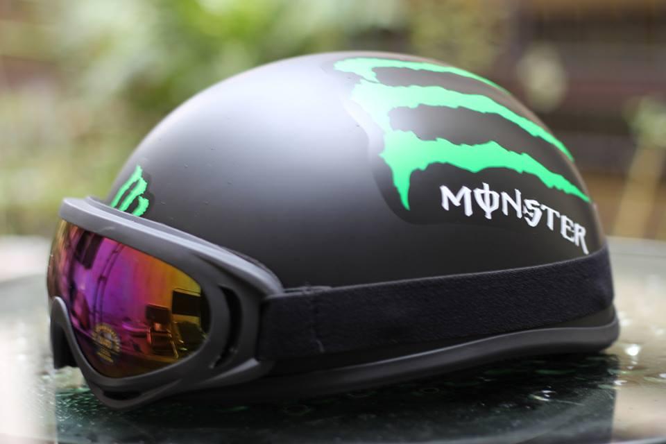 Mũ bảo hiểm nửa đầu có kính thời trang giá rẻ Monster