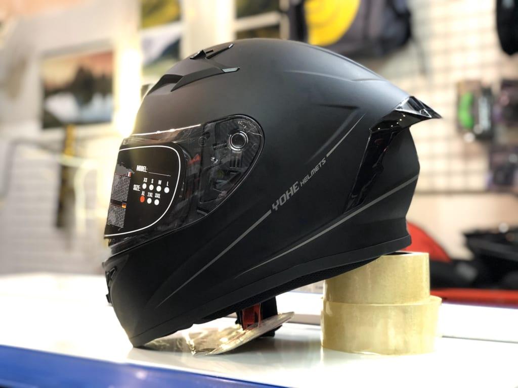Mũ bảo hiểm quân đội fullface Yohe 978 Plus đen trơn